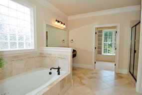 Beautifully Remodeled Bathroom With Diagonal Tile Architecture And A Glass  Block Window