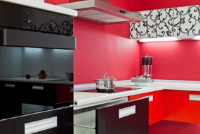 Bright Paint Colors In The Kitchen Why Not This Red Wall Works Nicely With Contemporary